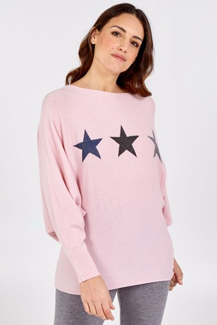 Blue Vanilla Pink Stars Batwing Oversized Jumper