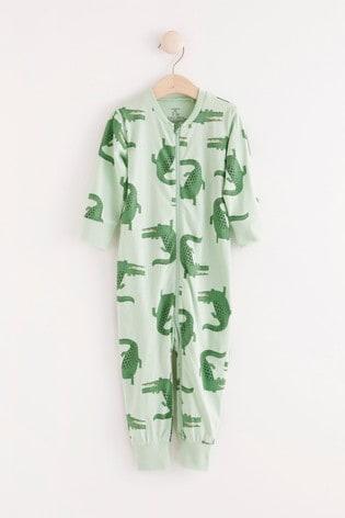 Lindex Green Crocodile Zip Sleepsuit (Baby)