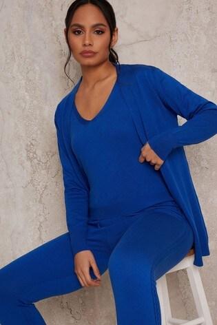 Chi Chi London Blue 3 Piece Cardigan Lounge Wear Set