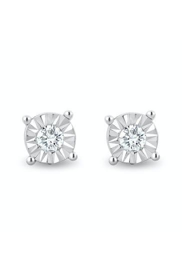 The Diamond Store 925 Silver Lab Diamond Stud Earrings 5mm 0.10ct H/Si