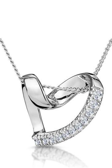 The Diamond Store 925 Silver Lab Diamond Heart Pendant Necklace 0.10ct H/SI
