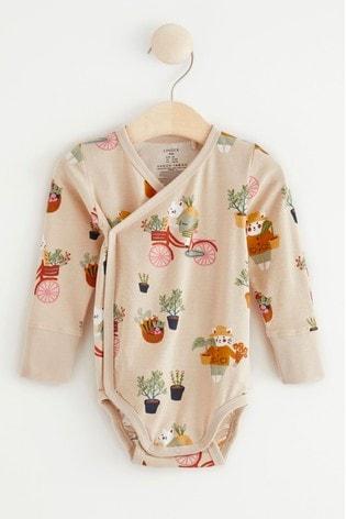 Lindex Cream Baby Wrap-Over Bodysuit