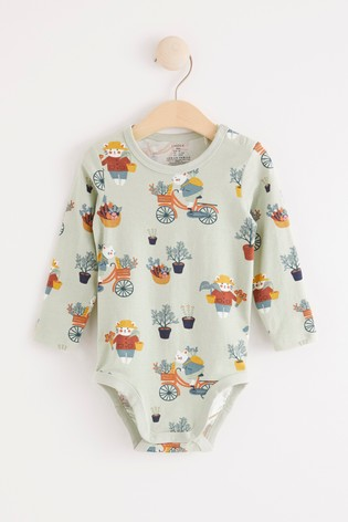 Lindex Blue character print Baby Long Sleeved Bodysuit