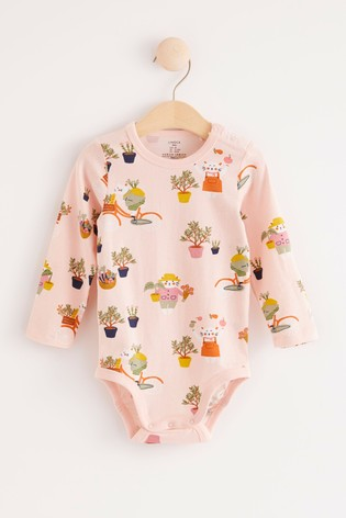 Lindex Pink Baby Long Sleeved Bodysuit