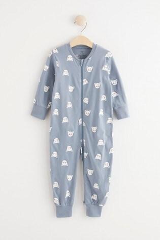 Lindex Blue Animal Zip Sleepsuit (Baby)