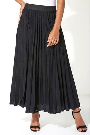 Roman Black Pleated Maxi Skirt