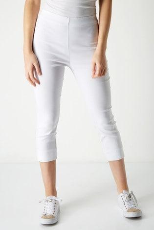 Roman White Cropped Stretch Trouser