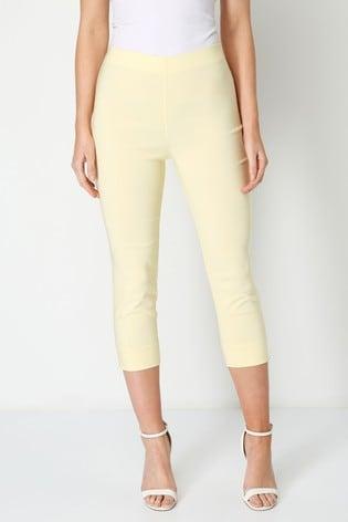 Roman Yellow Cropped Stretch Trouser