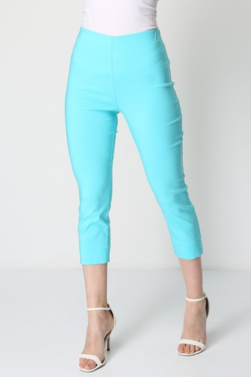 Roman Turquoise Cropped Stretch Trouser