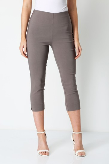 Roman Chocolate Cropped Stretch Trouser