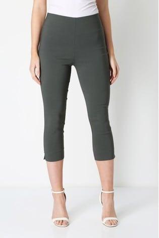 Roman Khaki Cropped Stretch Trouser