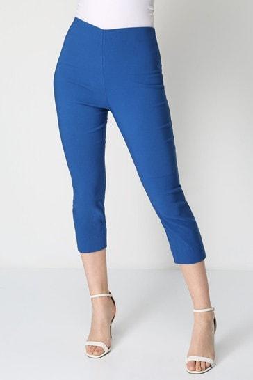 Roman Petrol Blue Cropped Stretch Trouser