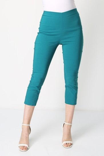 Roman Jade Green Cropped Stretch Trouser