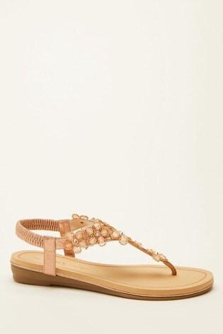 Quiz Gold Comfort Flower Embellished Sandal