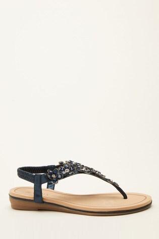 Quiz Navy Comfort Flower Embellished Sandal
