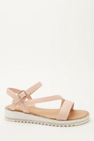 Quiz Pink Comfort Faux Leather Embellished Sole Sandal