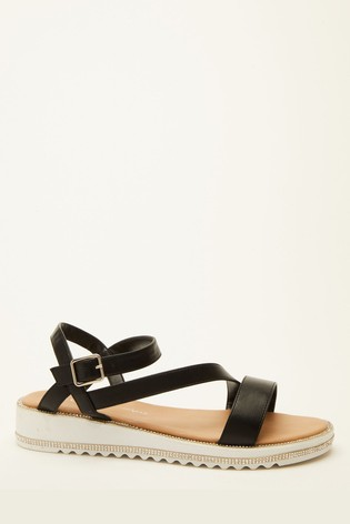 Quiz Black Comfort Faux Leather Embellished Sole Sandal