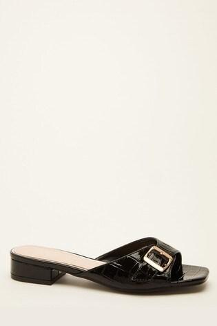 Quiz Black Faux Croc Buckle Sandal