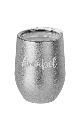 Personalised Jungley Glitter Stemless Wine Tumbler by Treat Republic