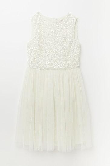 Maya White Sequin Tulle Dress