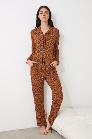 Trendyol Burnt Orange Printed Pyjamas