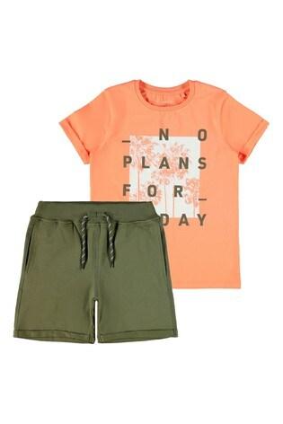 Name It Orange Khaki Summer Shorts And T-Shirt Pack