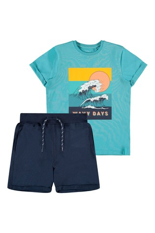Name It Blue Navy Summer Shorts And T-Shirt Pack