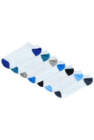Jeff Banks White Mens Trainer Socks Seven Pack