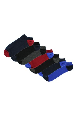 Jeff Banks Black Mens Trainer Socks Seven Pack