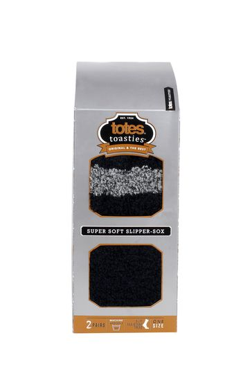 Totes Grey and Black Mens Supersoft Socks Twin Pack