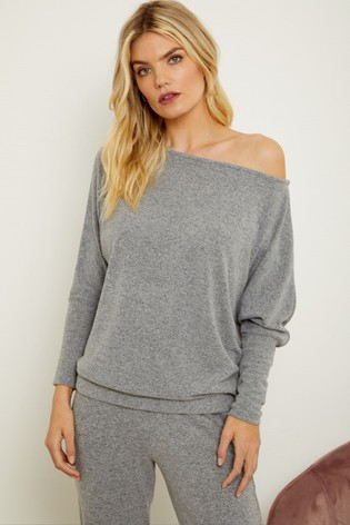 Sosandar Grey Super Soft Batwing Sleeve Loungewear Top Co-Ord
