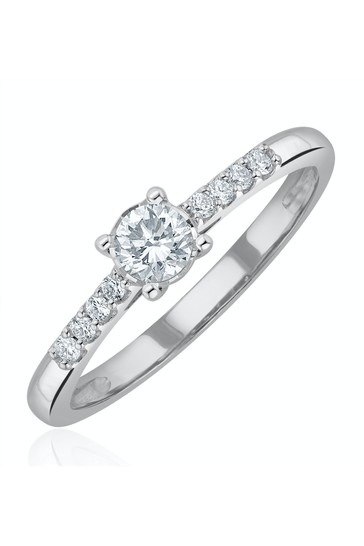The Diamond Store White Lab Diamond Side Stone Engagement Ring 0.25ct H/Si in 9K White Gold