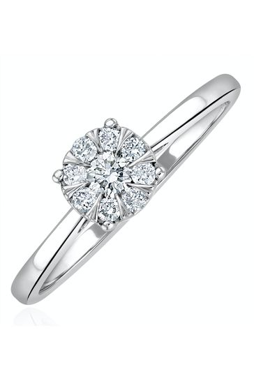 The Diamond Store 0.25ct Lab Diamond Cluster Solitaire Ring H/Si in 925 Silver