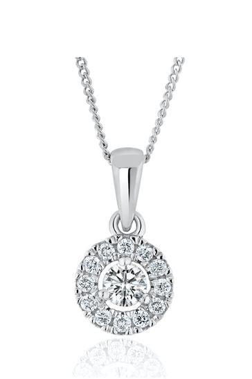 The Diamond Store Lab Diamond Halo Pendant Necklace 0.25ct H/Si in 9K White Gold
