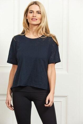 Sosandar Blue Open Back Detail Relaxed Fit T-Shirt