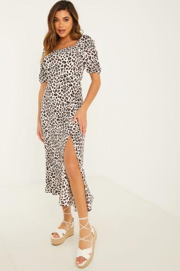 Quiz Brown Animal Print Puff Sleeve Midi Dress