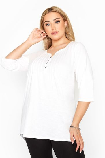 Yours White Pleated Henley Top