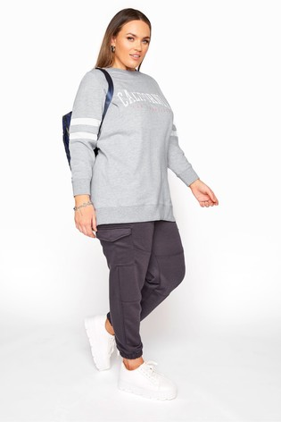 Yours Grey Varsity Stripe California Sweatshirt