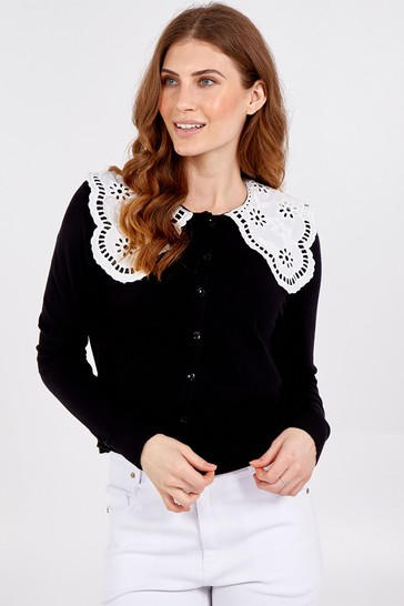 Blue Vanilla Black Lace Collar Button Front Jumper