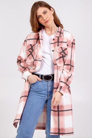 Blue Vanilla Pink Check Longline Shacket