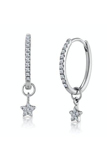 The Diamond Store 9K White Gold Stellato Diamond Encrusted Hoop Star Earrings 0.12ct