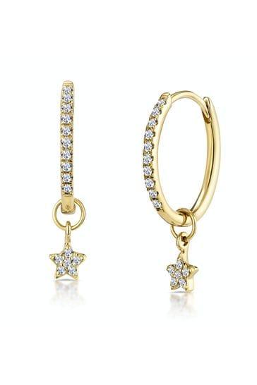 The Diamond Store 9K Gold Stellato Diamond Encrusted Hoop Star Earrings 0.12ct