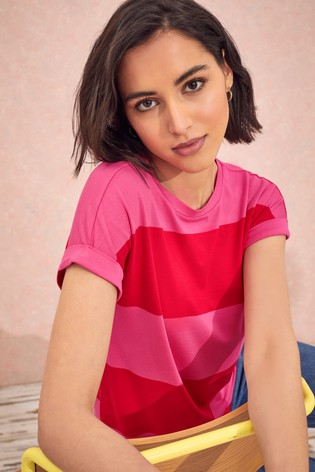 Love & Roses Pink/Red Roll Sleeve TShirt