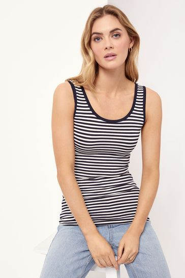 Lipsy Navy Stripe Regular Long Line Vest Top