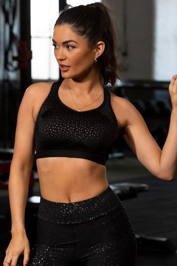 Pour Moi Black & Rose Gold Energy Non Wired Non Padded Full Cup Sports Bra