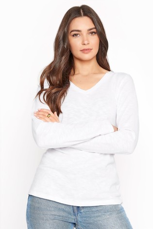 Long Tall Sally White Cotton V-Neck Long Sleeve Top