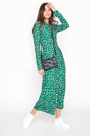 Long Tall Sally Green Polka Dot Twist Front Jumpsuit