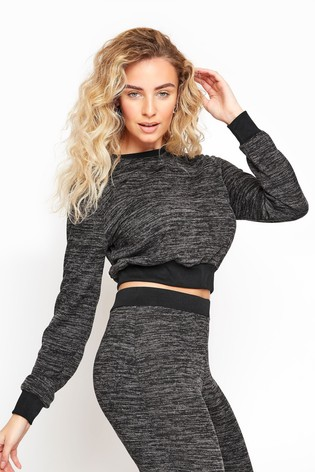 Long Tall Sally Grey Marl Cropped Co-ord Top