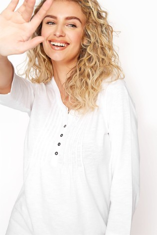 Long Tall Sally White Pleated Henley Top