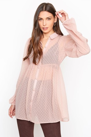 Long Tall Sally Pink Peplum Dobby Chiffon Shirt